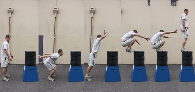 Jump with knees to the chest