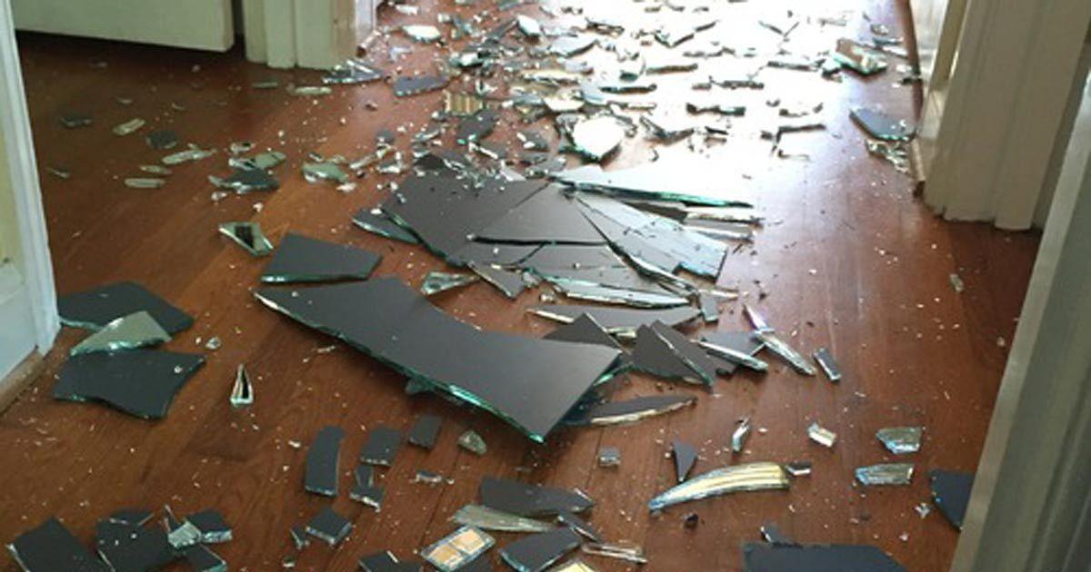 mirror broken in home