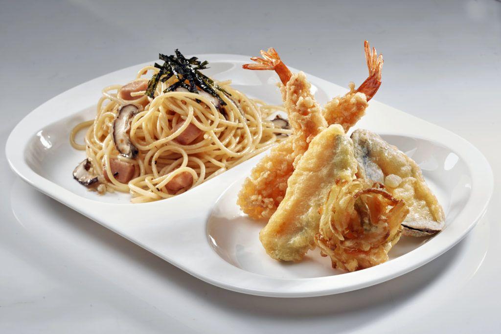 Pasta with tempura